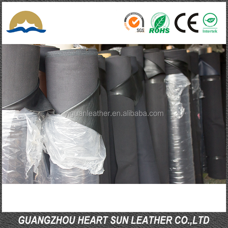 PVC artificial Leather stocklot for car seat ,black dominated stock