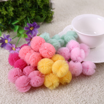25mm Lace Gauze Elastic Flower Ball DIY Handmade Plush Pompom Mesh Pendant For Head Hair Wedding Dress Sew Accessories 5.0