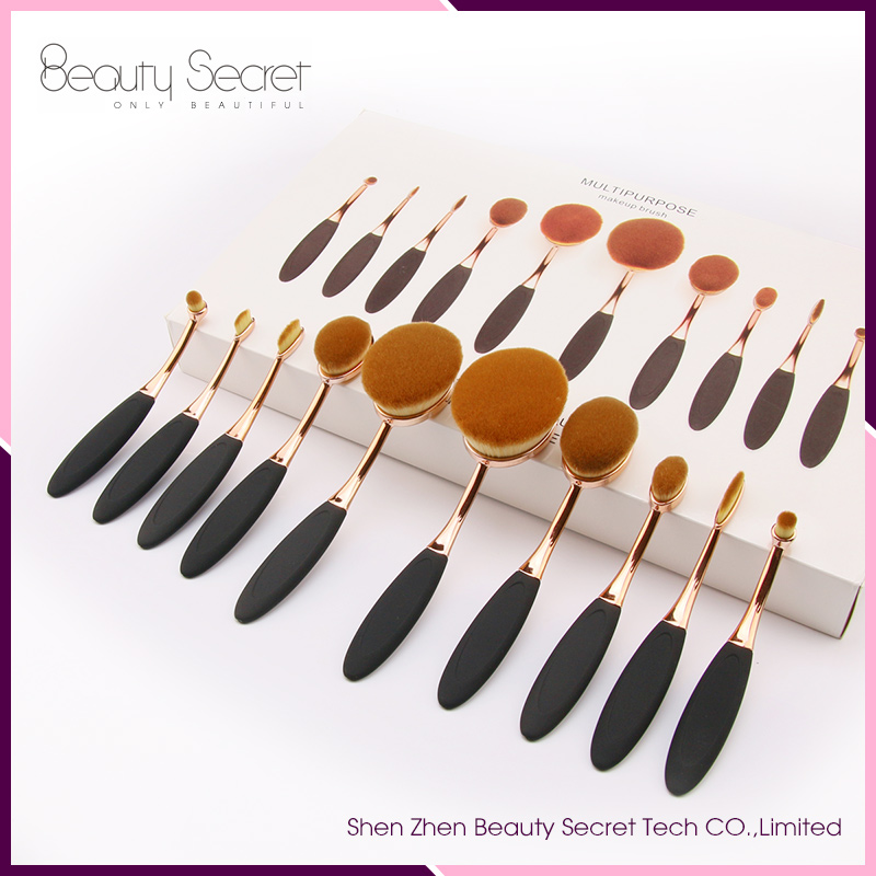 2016 New Arrival Tooth Brush Style 10PCS Oval Makeup brush