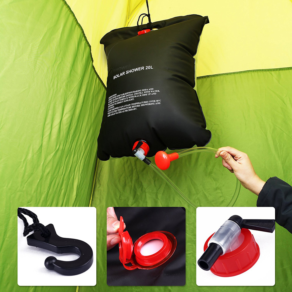 hanging hot water heater solar shower bathing bag for wild use