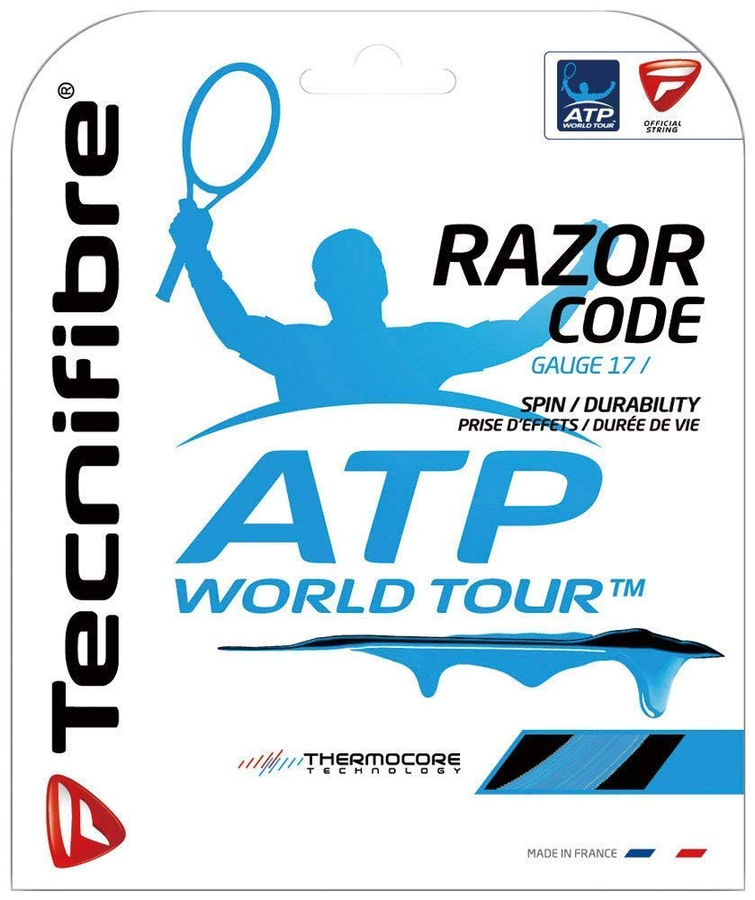 Tecnifibre Razor Code Blue Polymer - 16 17 18 Gauge Polyester (Poly) Tennis Racquet String Sets in Multi-Packs - Best for Spin and Control (2-4-6-8-Packs)