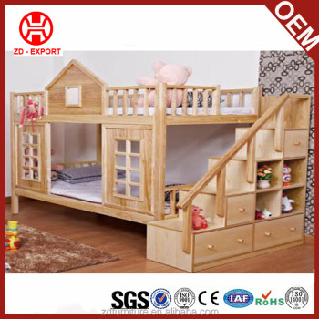Unique Wooden Children Double Bunk Beds Kids Bunk Beds With Stair