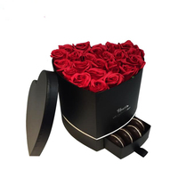 Luxury black heart shaped flower cardboard stamping storage box gift packaging with drawer custom for chocolate and rose packing