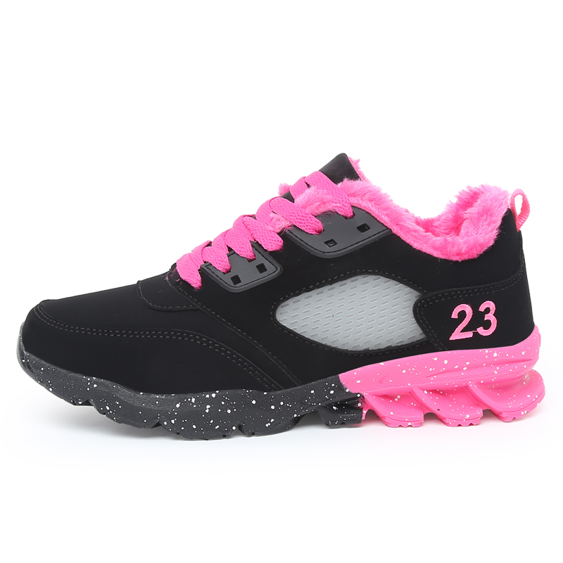 2016 Hot Sale Fashionable fancy ladies casual warm sport running shoes with fleece
