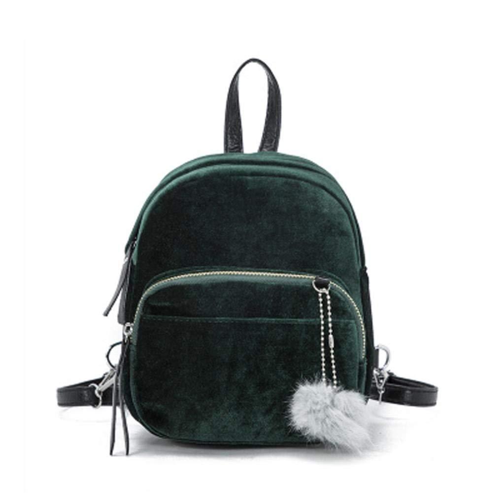 Mini Purse Backpack For Women Girls, Shybuy Fashion Velvet Shoulder Bag Lightweight Daypack with Cute Fur Ball