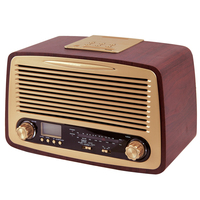 Wholesale Vintage Antique Wooden Retro Alarm Clock Radio with USB,MSD Music Player