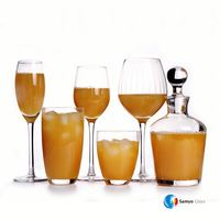 Samyo Glassware Manufacturers Custom Handmade Glass clear crystal wine glassware with decal