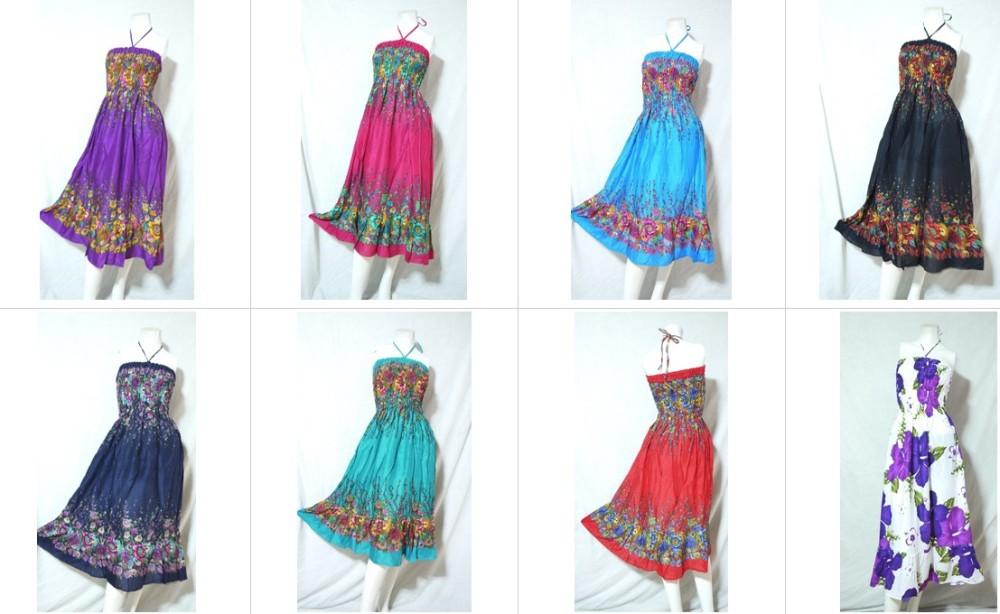 Hippie Boho Hawaii Beach Resort Wear Casual Dress Fl Print Maxi Ruffle Style Baby Doll String Tie Whole