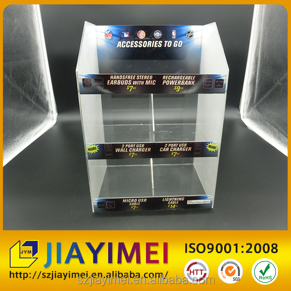 3 tiers counter top clear acrylic cell phone accessories display stand