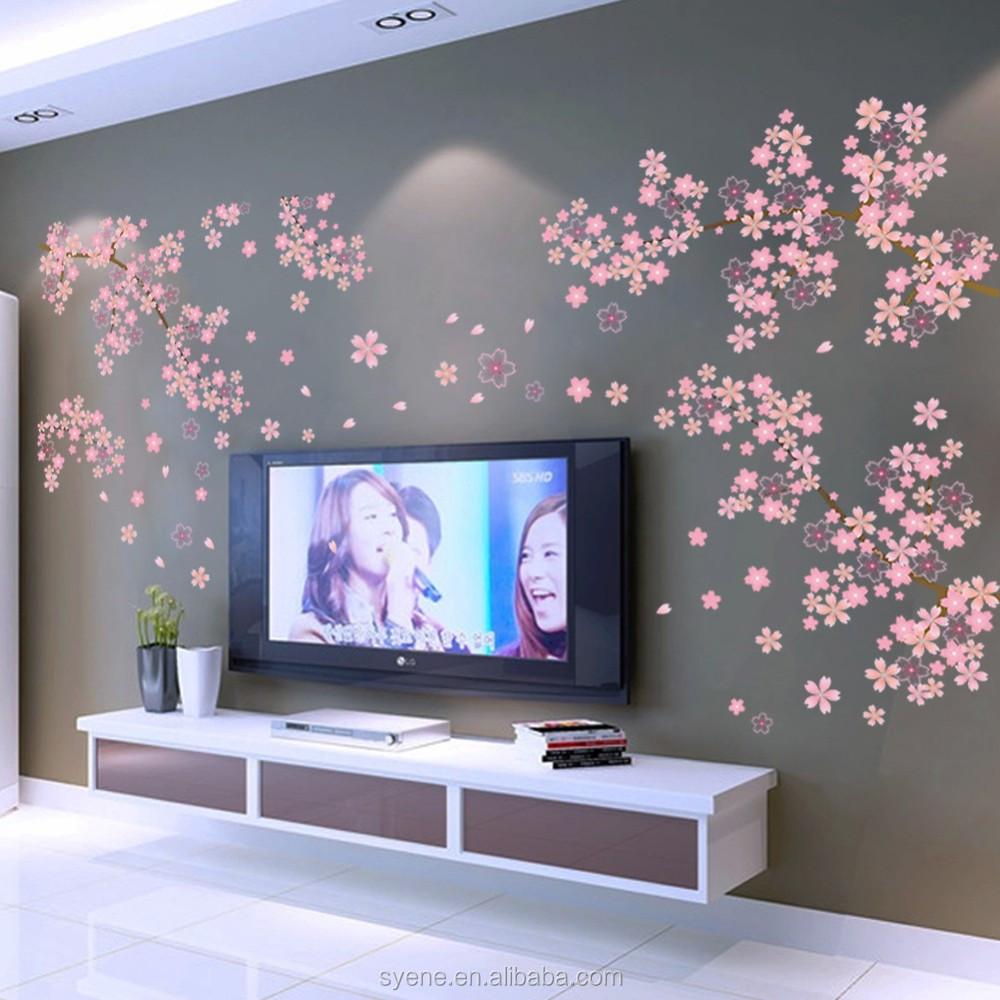 New Coreano Rosa Sakura Flor Adesivo De Parede Rvore Geneal Gica  -> Adesivo Decorativo Na Parede De Tv