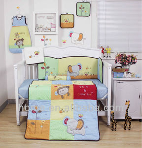 100% cotton lovely colourful complex applique and embroidery baby bedding set --KLF417