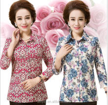 2.17 USD WY031 High quality long sleeve Floral pattern old lady blouse