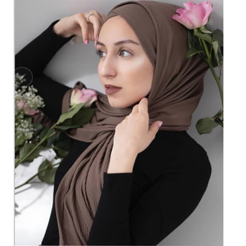 2019 Best new culturehijab high quality plain color crinkle crepe scarf women solid ribbed jersey hijab
