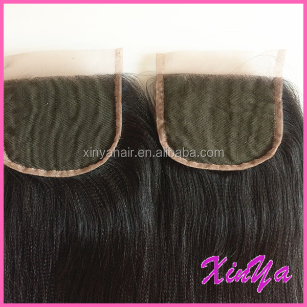 "Wholesale Top Quality Virgin Human Hair Hot Selling 12""-24"" coarse yaki lace closure"