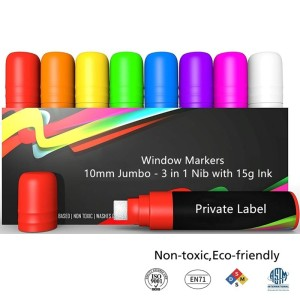 Private Label Jumbo Tips Window Markers - 3 in 1 Nib with 15g Ink - Pack of 8 neon chalk pens