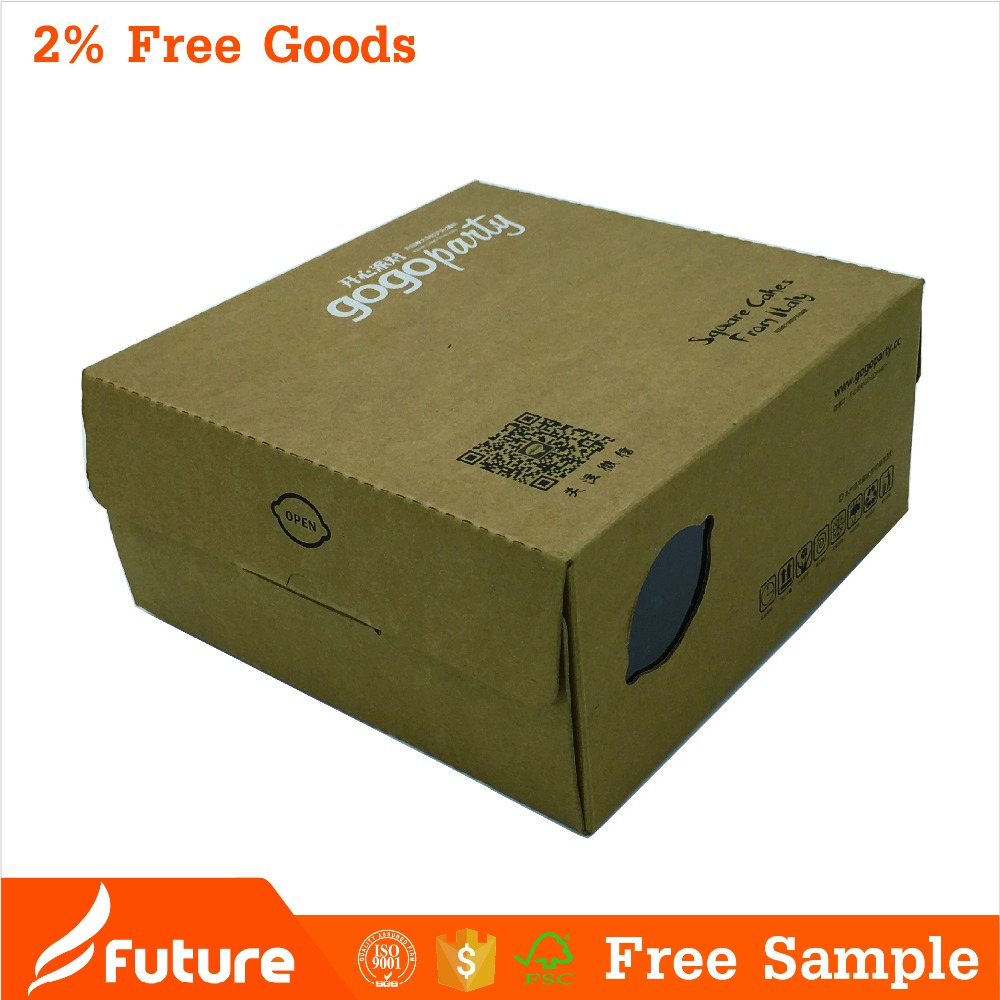 Food grade foldable kraft paper packaging cake box with window