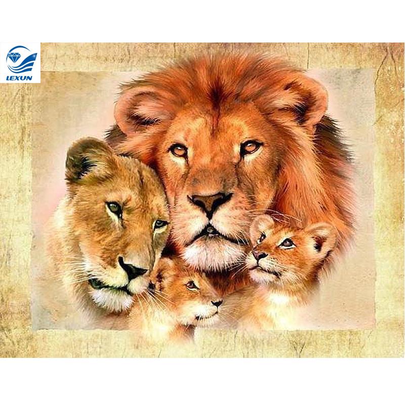 lion family Diamond painting cross stitch full Diamond