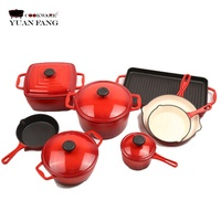 Popular 12pc Enamel Cast Iron Cookware Set for Kitchenware