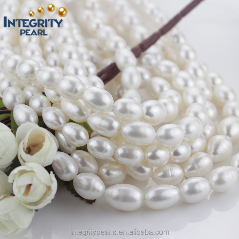 11-12mm AA+ huge big size rice shaped white natural genuine single pearl string