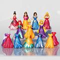 14Pcs Set Princess Snow White Figures Ariel Belle Rapunzel Aurora PVC Action Figure Toys Dolls Dress