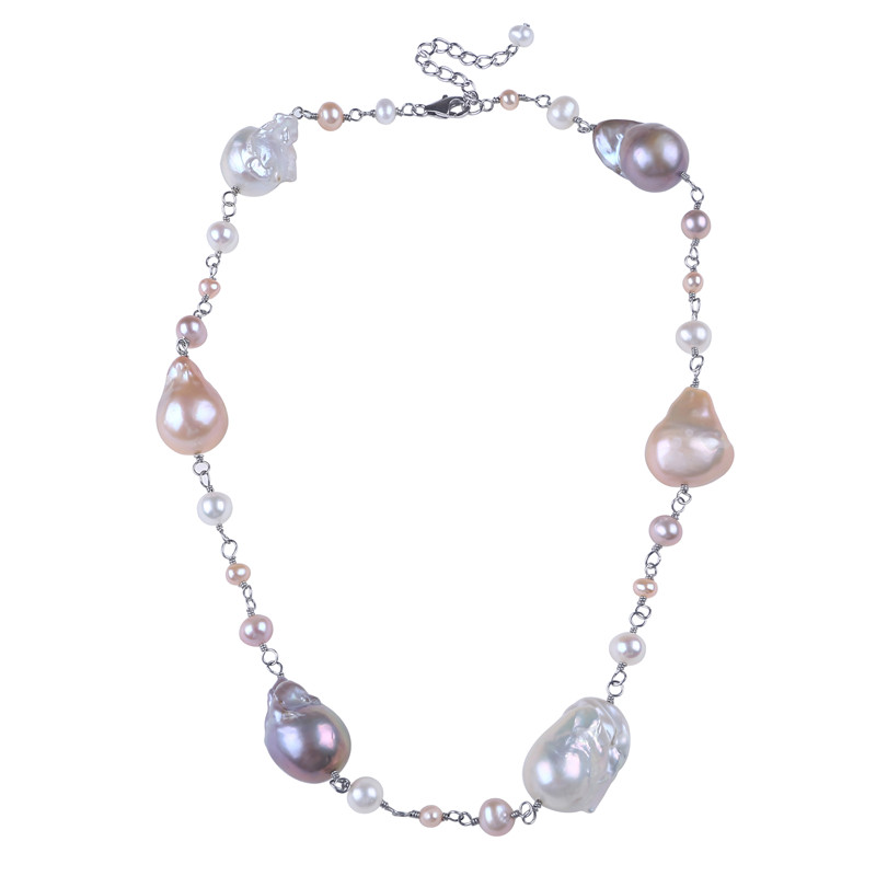 925 silver big baroque pearl necklace