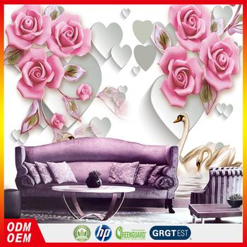 3d Red Rose Flower Vinyl Wallpaper Flower With Swan Wallpaper Bedroom Wallpaper Buy Red Rose Flowers Wallpapersvinyl Wallpaper Flower