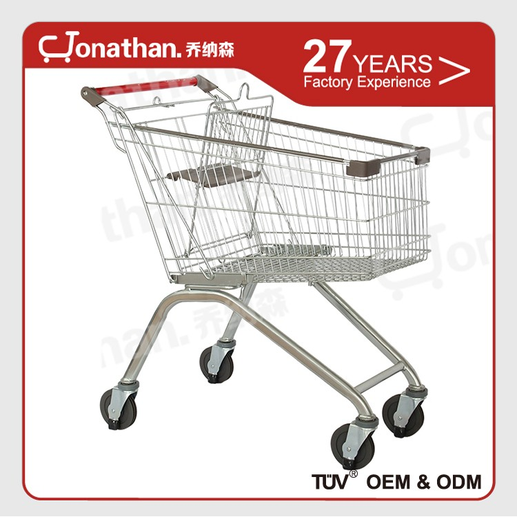 125L metal steel supermarket 4 wheel shopping trolley for sale