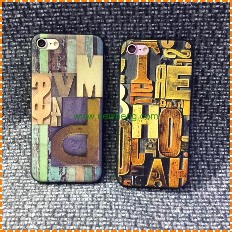 Phone Accessories Mobile Wood Line Color Painting Relief Sculpture TPU Case For iphone 7