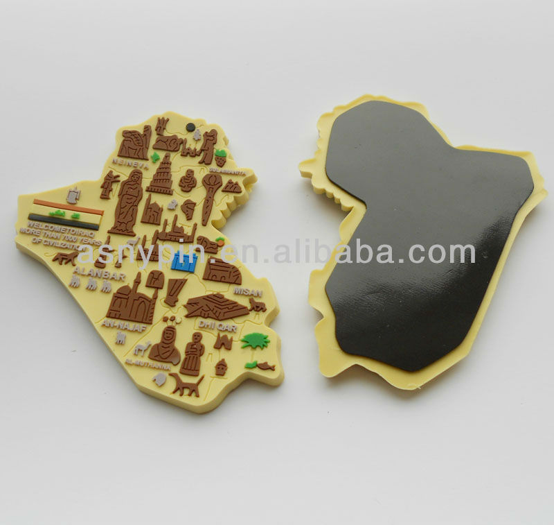 IRAQ Map 3D die cut shape refrigerator magnet in soft pvc