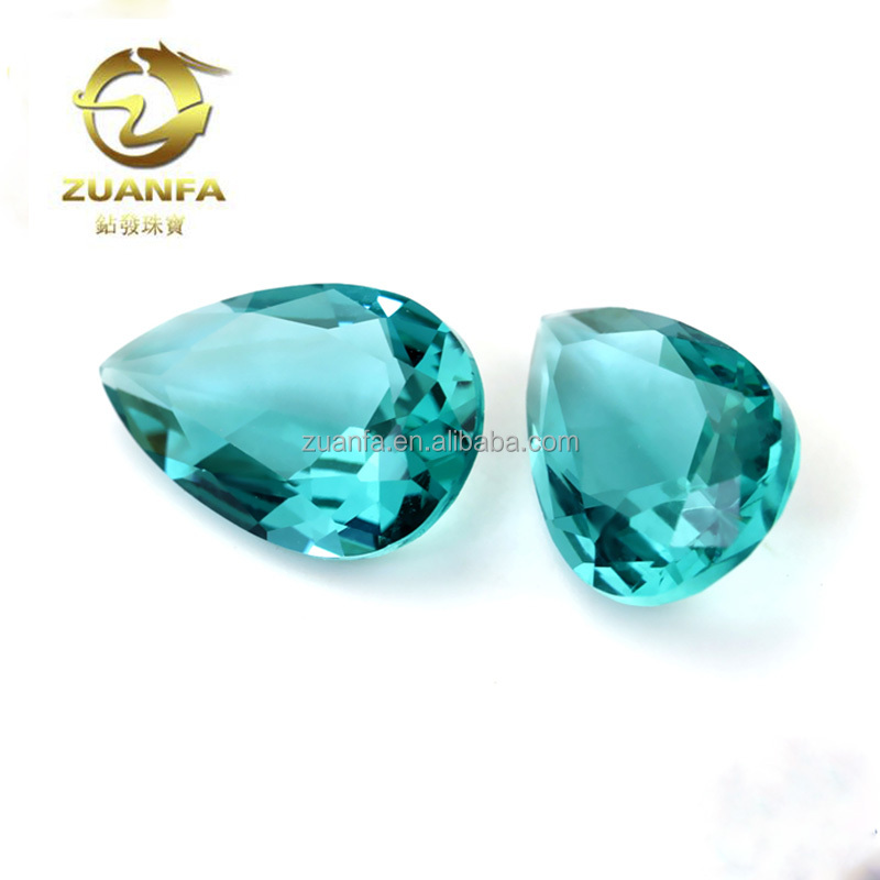 wholesale price Glass stone pear cut blue green colorful crystal glass gemstone