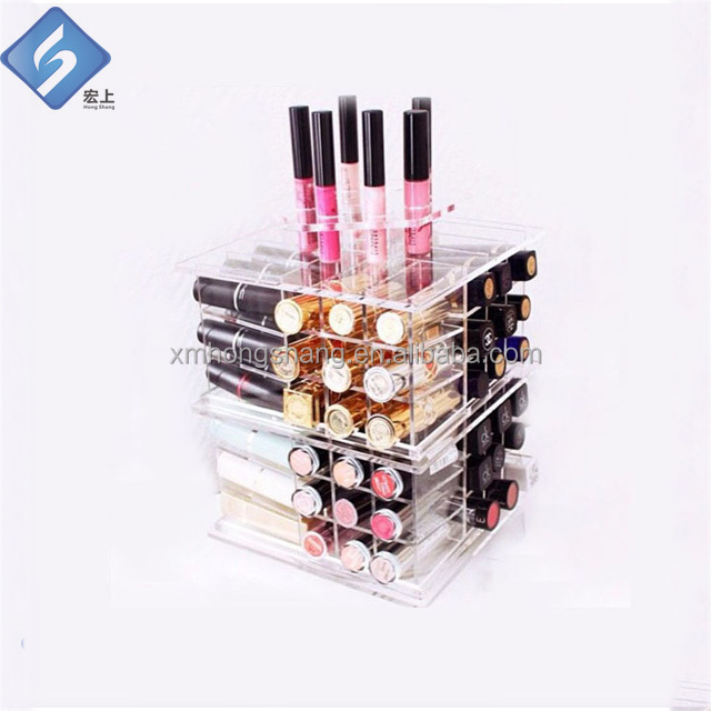 Clear acrylic makeup and cusmetic storage organizer box with drawer