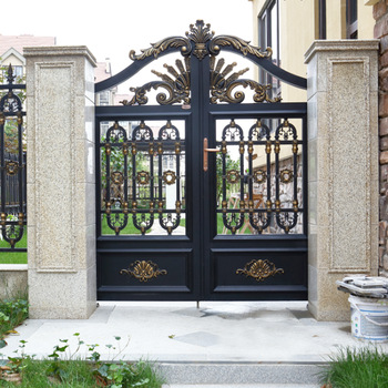 Hs Lh024 Modern House Compound Wall And Welded Gate Design