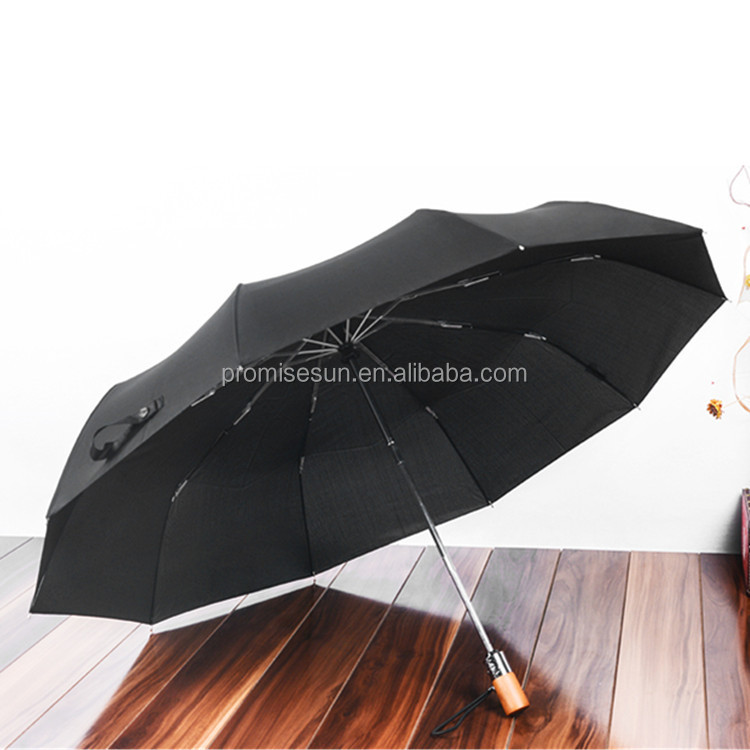 Man business 10 bone automatic durable high quality can print logo simple folding umbrella solid color umbrella wood handle