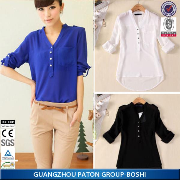 Mode voor vrouwen gehaakte kant tops losse chiffon shirt met lange mouwen toevallige blouse - Mode stijl amerikaans ...