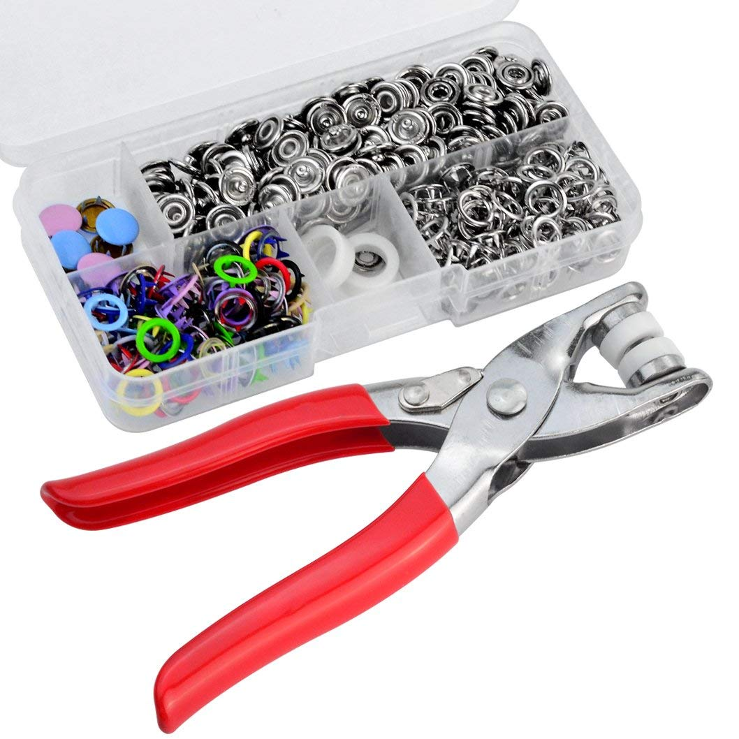 Wobe 110 Set Snap Fastener Kit Snap Setter Hand Pliers Setting Tool, Snap Button with Fastener Snap Pliers, Metal Ring Button Press Studs Sewing Craft Pliers Craft Tool 9.5mm Multicolor for Baby Cloth