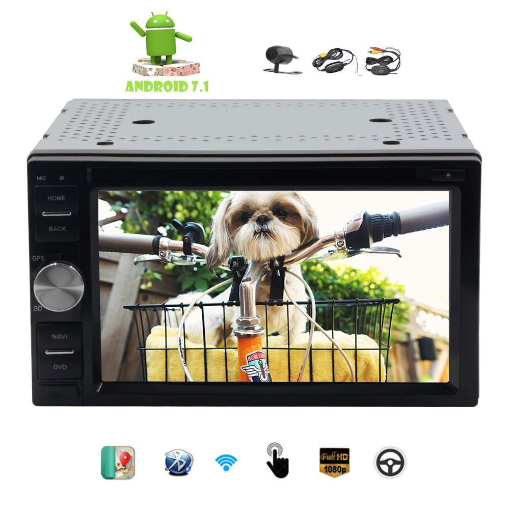Wireless Camera!!Eincar Car Stereo 6.2 inch Double din GPS Navigation Autoradio Octa-core 7.1 System Support CD DVD Video 1080P Player Bluetooth FM RDS Receiver Wifi Remote Control OBD Head Unit