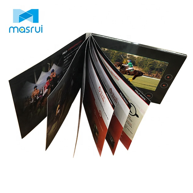 New design 7 inch TFT LCD video multipage card/video in print for advertising