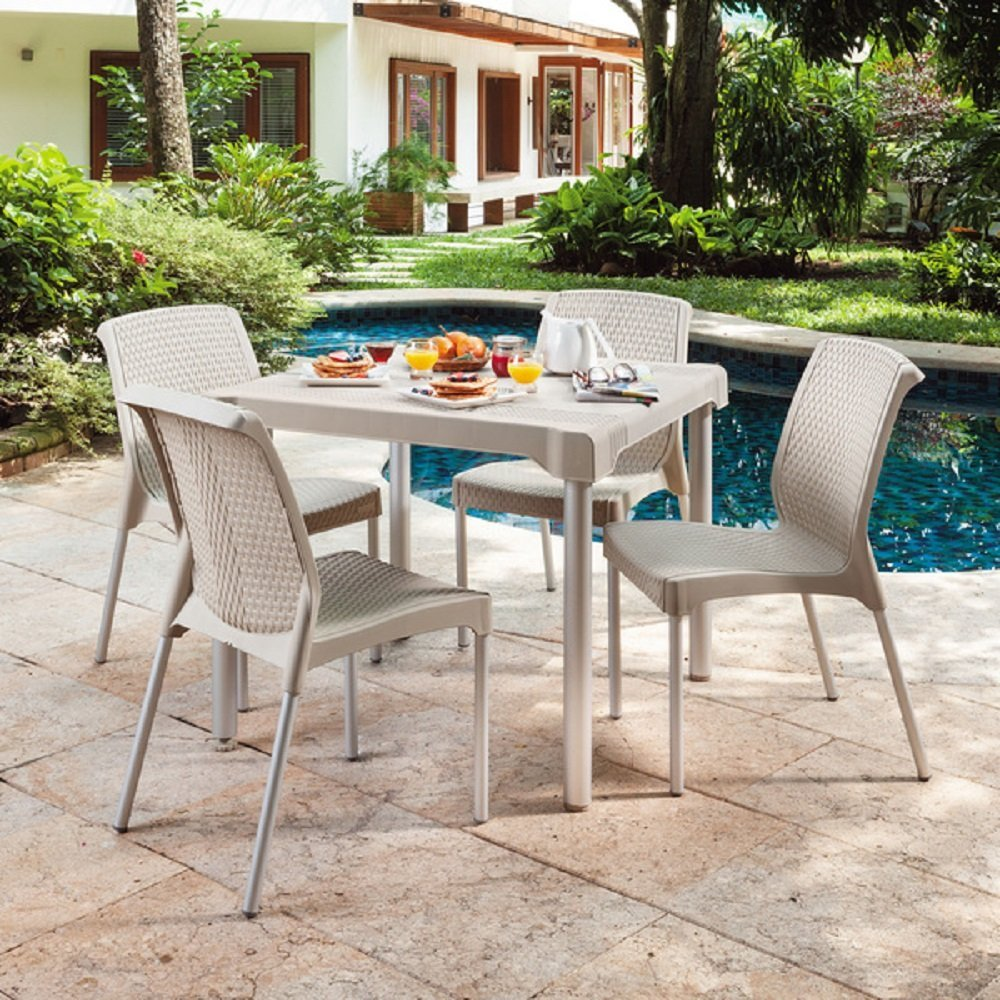 Weather Resistant Shia Patio Dining Set Featuring Four Woven Resin Wicker  Stackable Chairs, Taupe