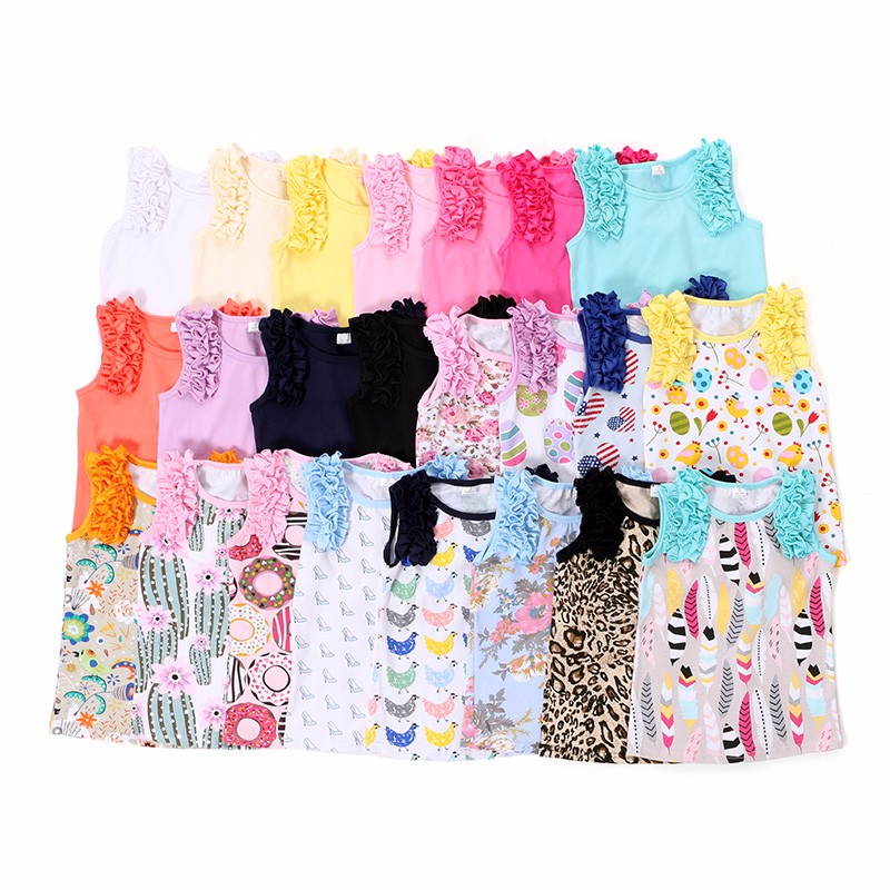 Wholesale pink sleeveless cotton children clothing toddler clothes baby ruffle shirts