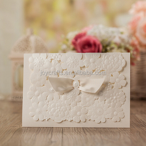 Wedding Supplies Ribbon Wings with Bead Under Ivory Flower Background Design Unique Wedding Invitation Cards