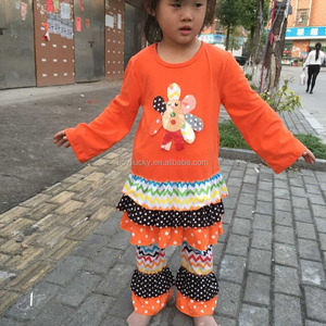 2015Hot Sale!Baby Girls Autumn Cotton Outfits 2Pcs Sets Girls Thanksgiving Turkey Sets Kids Autumn Cheap Outfit With Ruffle Pant
