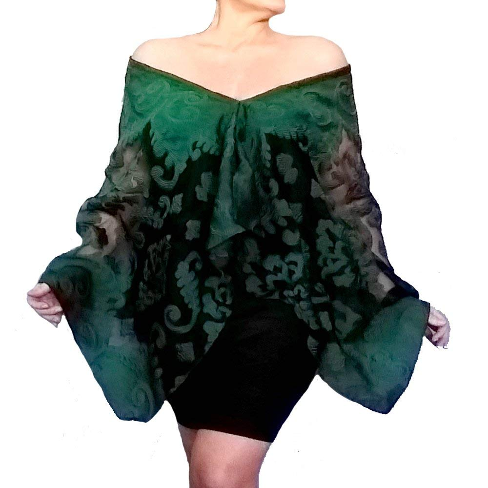 99fe12be17d01 Get Quotations · Plus Size Green Shawl Sheer Black Evening Wrap Stole By  ZiiCi