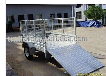 hot sale !!!!7x4 hot dipped galvanized aluminium ramp cage box car trailer
