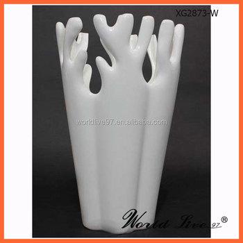 Xg2873 W New Hot Sale Design White Ceramic Layout Vase For Home