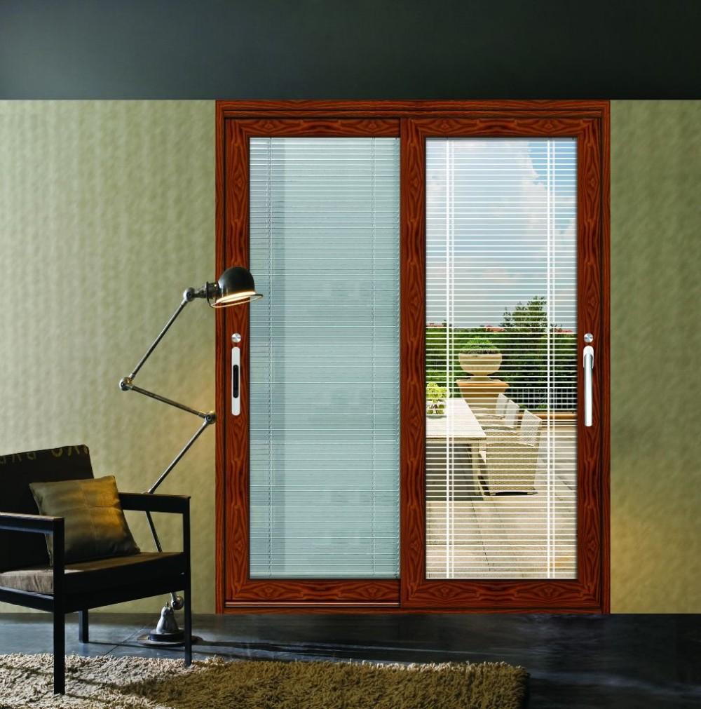 Modern Design Sound Proof Sliding Glass Doors With Built In Blinds
