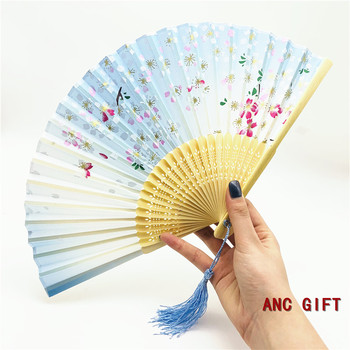 Promotional Asian Bamboo Silk Souvenir Sublimation Custom Nylon Wooden Folding Hand Fan