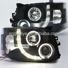 For TOYOTA HIACE H200 LED Angel Eyes Head Light Black Housing 2010-2014 Year