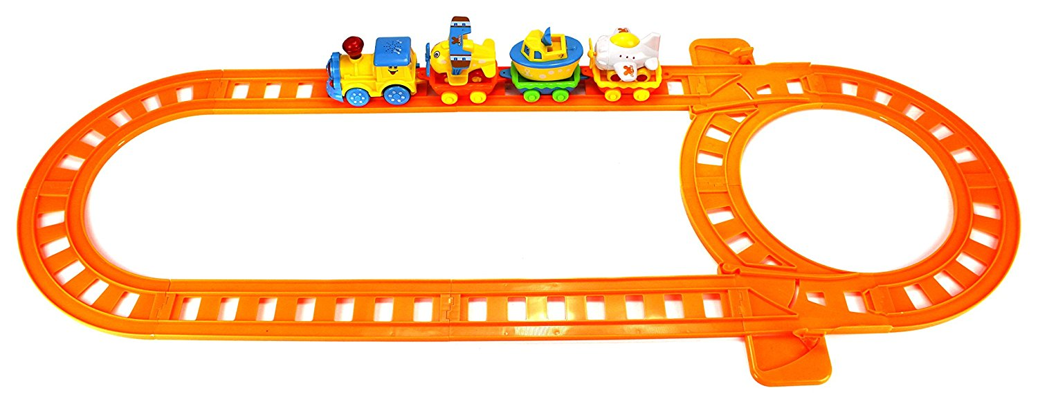 Cartoon Traveling Locomotive 17 Piece Battery Operated Toy Train Set w/ Lights, Music, 4 Train Cars, 6 Curved, 4 Straight Tracks
