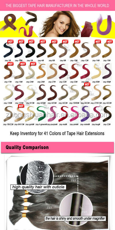 ZSY wholesale factory price large stock weft pu glue virgin tape hair extensions