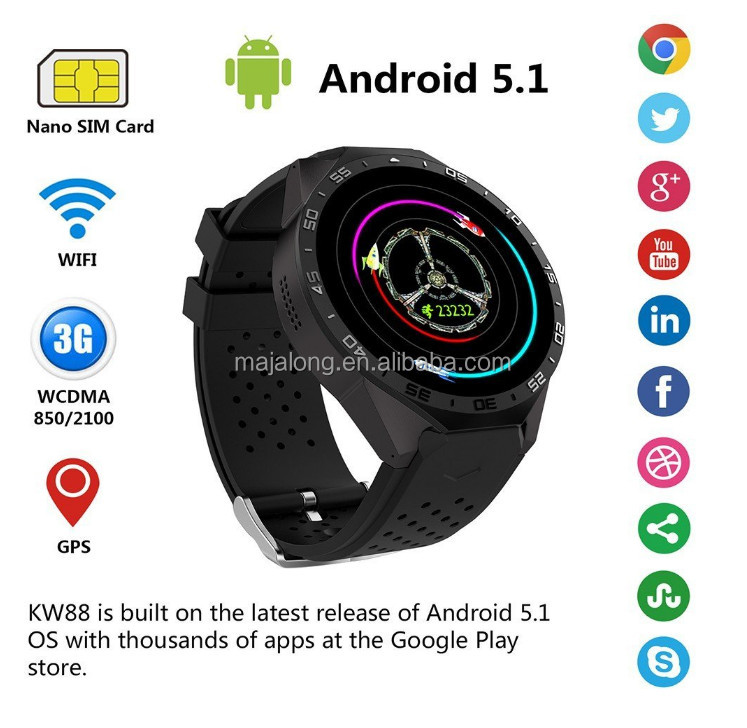 Android 5.1 Smart Watch Mobile Phone MTK6580 Quad Core Wifi Sim Card WCDMA 3G Heart Rate monitor Smart Watch